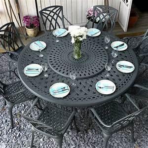 Table Ronde 8 Personnes : ensemble table et chaises de jardin gris ardoise en aluminium olivia ~ Teatrodelosmanantiales.com Idées de Décoration