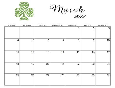 calendar template march 2018 printable 2018 monthly blank templates calendar 2018