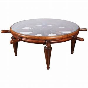 Antique ship39s wheel as coffee table with glass top for for Glass top coffee table with wheels