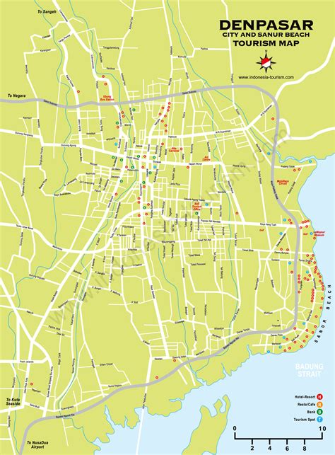 sanur denpasar bali map bali island indonesia