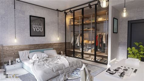 Luxe Urbane Interiors With A Delightful Touch Of Whimsy by Trendy Industrial Bedroom Design With Gray And White Color