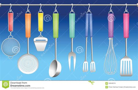 colorful kitchen utensils kitchen tool hanger colors cutlery stock vector image 2356
