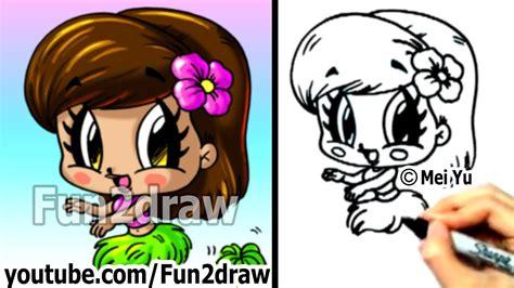 draw cartoon people chibi hula girl cute art