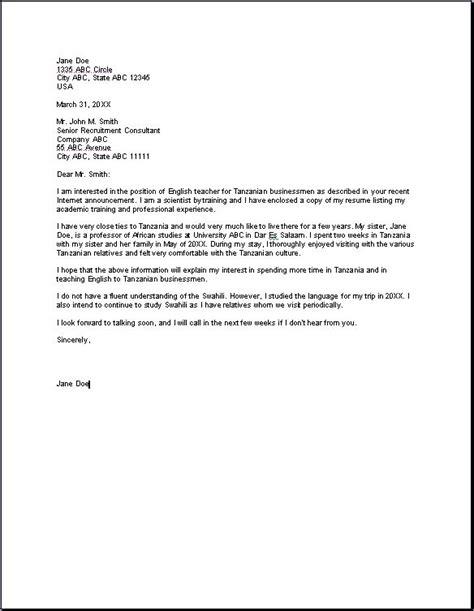 teacher application letter teacher job application