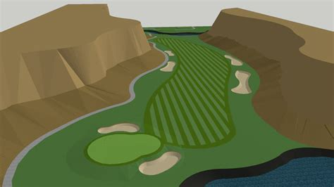 golf hole, long dog leg right par 4 | 3D Warehouse