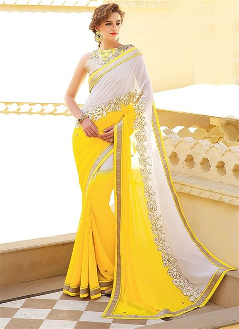 white embroidered blouse lustrous white yellow designer saree