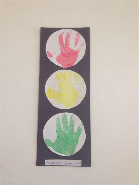 Transportation Theme Hand Print Stop Lights Work