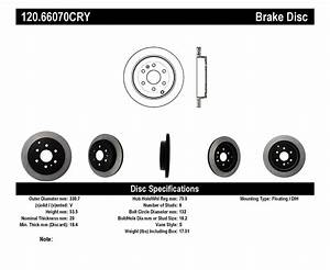 Stoptech 120 66070cry 2007 - 2010 Saturn Outlook  2007 - 2016 Gmc Acadia  2008
