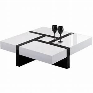 Table Salon Blanc Laqué : table basse blanc et noir table basse ronde ou ovale maisonjoffrois ~ Teatrodelosmanantiales.com Idées de Décoration