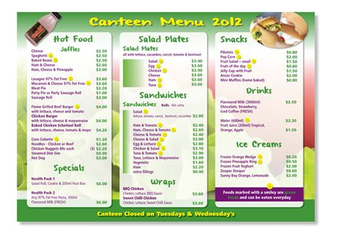 Canteen Menu Template by Playful School Menu Design For A Company By