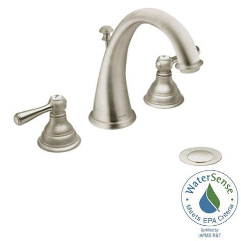 Brushed Nickel And Gold Bathroom Fixtures by Moen Kingsley 8 In Widespread 2 Handle High Arc Bathroom