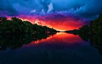 Sunset Lightning Landscape Desktop Wallpapers Background Backgrounds
