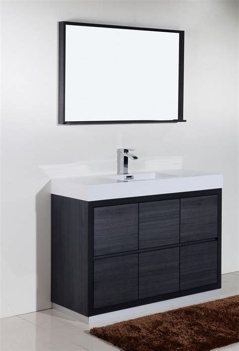 bliss  gray oak floor mount modern bathroom vanity