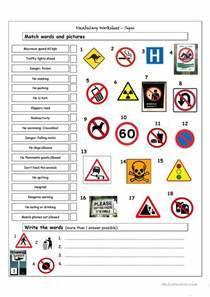 Vocabulary Matching Worksheet - Signs worksheet - Free ESL
