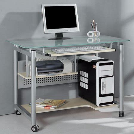 rolling computer desk rolling computer desk glass and silver colored metal