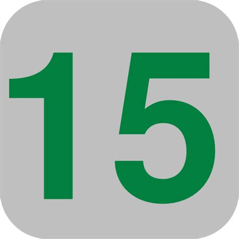 Number 15 Grey Flat Icon Clip Art at Clker.com - vector