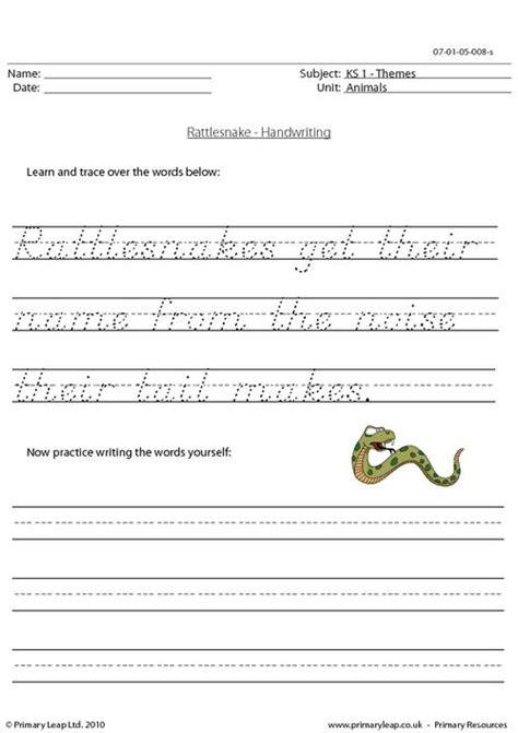 rattlesnake handwriting primaryleap co uk