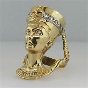 Huge Heavy Egyptian Revival Diamond Nefertiti Ring 14k
