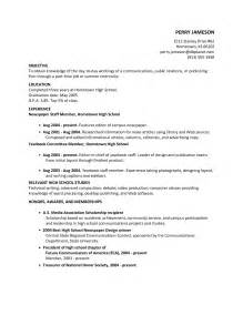 Exles Of A High School Resume For College Applications by High School Resume Resume Cv Exle Template