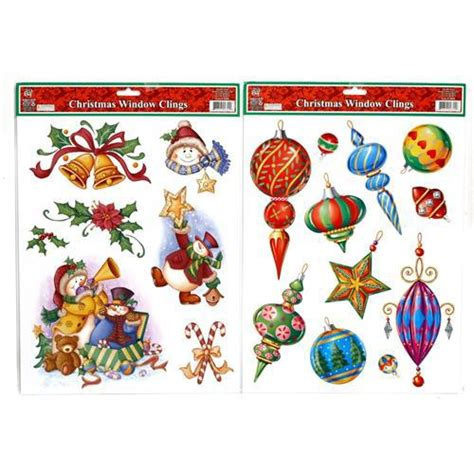 wholesale christmas window clings 17 quot x 12 quot 4 6 assorted