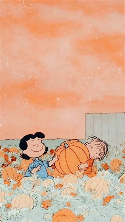 Aesthetic Fall Peanuts Pumpkin Halloween Iphone Wallpapers