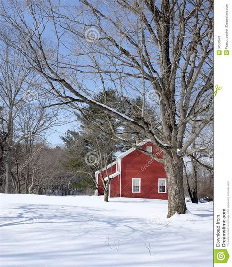 Classic Vermont Red House In Winter Stock Image  Image Of