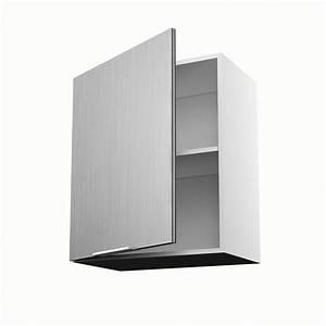 Meuble de cuisine haut décor aluminium 1 porte Stil H 70 x