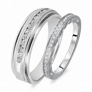 38 Carat TW Round Cut Diamond His And Hers Wedding Band