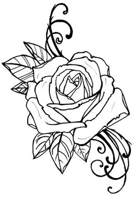 Items similar to coloring book page, tattoo rose digital file on Etsy