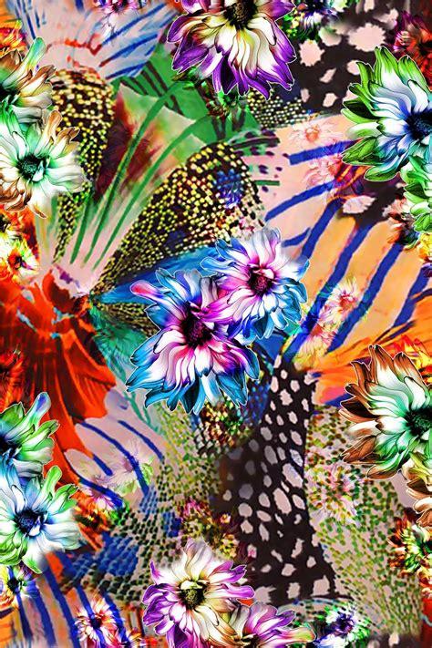 Animal Print Wallpaper Designs - painting flower design digital print 2 blisse design