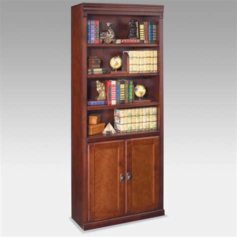 cherry bookcase with doors kathy ireland home by martin huntington club wood bookcase