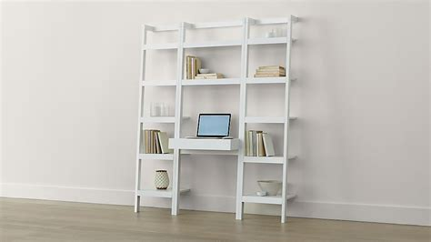 Leaning Desk Bookcase by Sawyer White Leaning Desk With Two 18 Quot Bookcases Crate