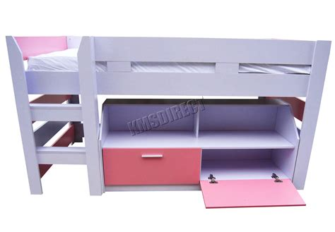 cabin bed shelf foxhunter mdf kids 3ft mid sleeper cabin bunk bed wooden with book shelf pink ebay