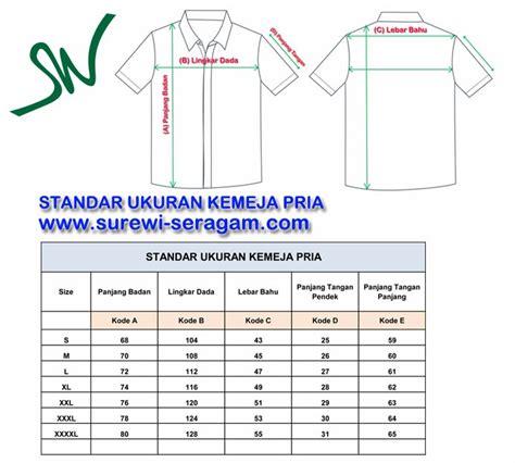 standar ukuran kemeja dan celana di surewi wardrobe seragam kerja seragam kantor seragam