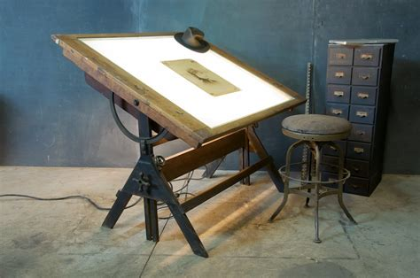 drafting table with lightbox 977 oak iron drafting table light 1920s 2 jpg