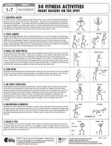 Physical Fitness Activity Worksheet for Kids