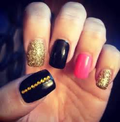 Pink Black and Gold Gel Nails