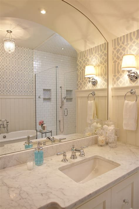 inspired arched mirror  bathroom traditional  mirror