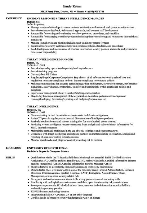 Threat Intelligence Resume Samples | Velvet Jobs