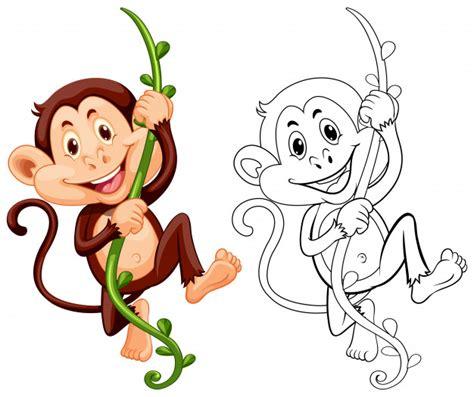 desenho de animais para macaco em videira vetores premium
