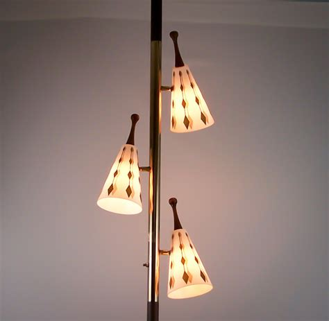 vintage tension pole l eames era gold cone globes floor to ceiling light pole ls
