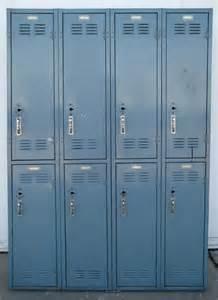 Blue Lockers at School