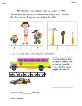 1st Grade Common Core Math Worksheets 1md1 Compare And Order Length Of Objects