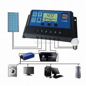 10  20  30a Dual Usb Solar Panel Battery Regulator Charge