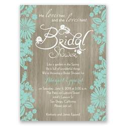 wedding shower invitations flowers and woodgrain bridal shower invitation invitations by