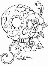 Skull Sugar Coloring Pages Roses Simple Skulls Easy Drawing Rose Owl Pdf Printable Crossbones Drawings Adults Candy Sheets Heart Teenagers sketch template