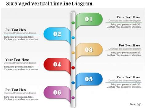 staged vertical timeline diagram powerpoint template