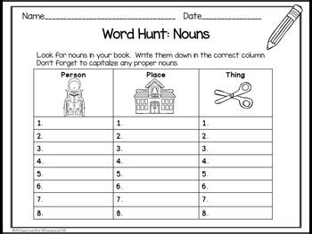 parts of speech worksheets and games by a classroom for all seasons
