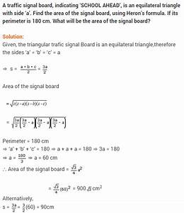 Ncert Solutions For Class 9 Maths Chapter 12 Heron U0026 39 S