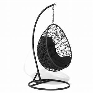 Fauteuil Suspendu Sur Pied : fauteuil suspendu chill noir et gris clair transat hamac ~ Melissatoandfro.com Idées de Décoration
